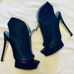 Halston Zipper Platform Heels